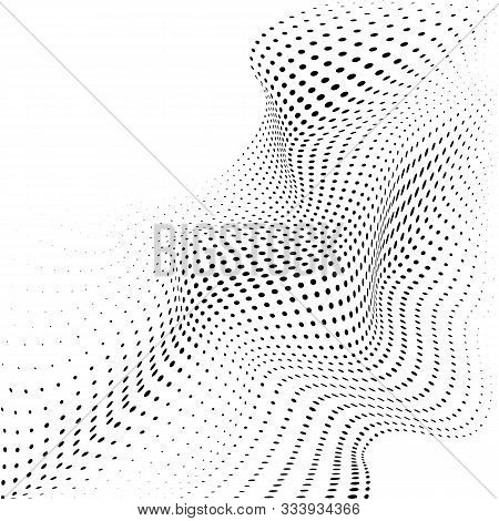 Abstract Halftone Background With Dynamic Waves. Halftone Design Element Motion Effect. Warp Dots Su