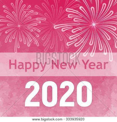 Vector Christmas Layout For 2020 With Salute And Place For Text. Pink New Year Card For 2020. Vector