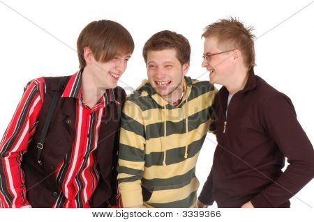 Happy Three Friends Laugh
