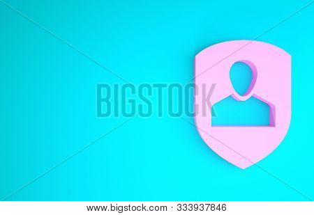 poster of Pink User protection icon isolated on blue background. Secure user login, password protected, personal data protection, authentication icon. Minimalism concept. 3d illustration 3D render