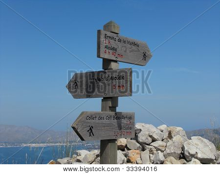 guidepost for hiking at mountain
