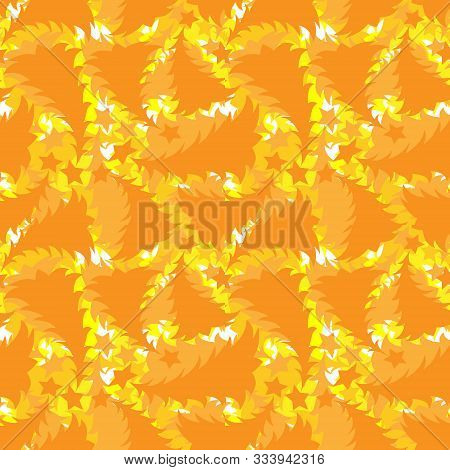 Seamless Multilayer Pattern Of Yellow And Orange New Year And Christmas Trees, Wallpaper, Background