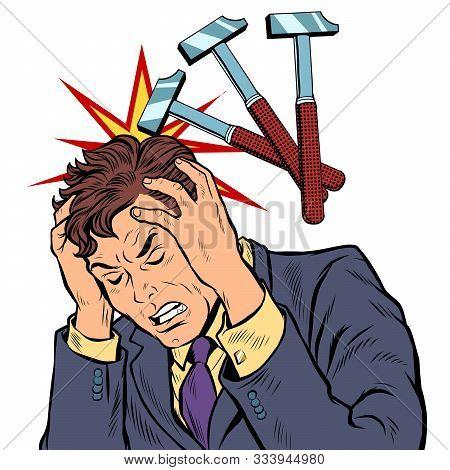 Throbbing Headache Man. Hammer Blows. Pop Art Retro Vector Illustration Drawing