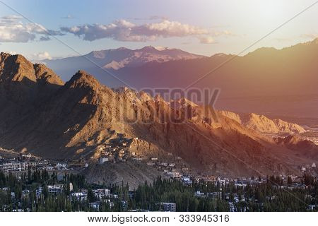 Beautiful Landscape,colorful Autumn With Snow Mountains And Sunrise At Leh City,leh Ladakh,india