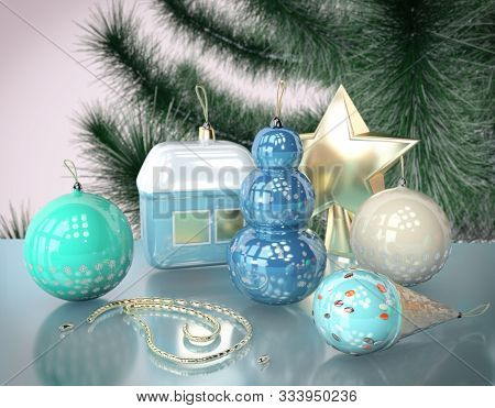 3D Illustration Of Christmas Tree Toy With Snow Flakes And Snowman Design Garland Close Up