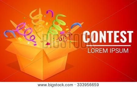Contest Gift Box Concept Banner. Cartoon Illustration Of Contest Gift Box Vector Concept Banner For