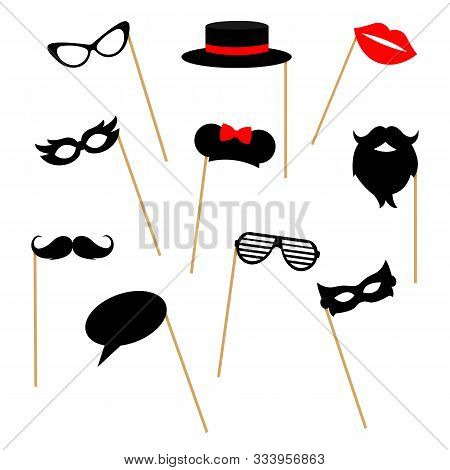 Photo Booth Props Collection For Party: Mask, Mustache, Beard, Glasses, Hat, Lips, Mouse Ears, Speec