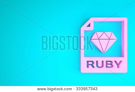 Pink Ruby File Document. Download Ruby Button Icon Isolated On Blue Background. Ruby File Symbol. Mi