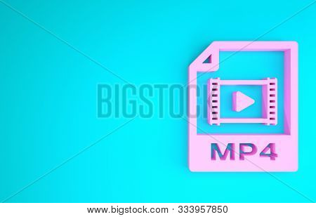Pink Mp4 File Document. Download Mp4 Button Icon Isolated On Blue Background. Mp4 File Symbol. Minim