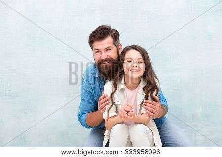 In My Father I Trust. Happy Father Giving Little Daughter Trusting Support. Bearded Man And Small Gi