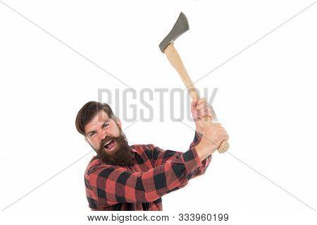 Destructive Energy. Brutal Lumberjack. Cutting Wood. Sharp Blade. Danger Concept. Brutality And Masc