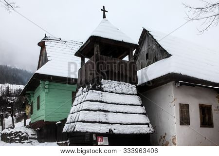 VLKOLINEC, SK - DECEMBER 31, 2017:  A historic village in Slovakia which is part of the UNESCO World Heritage since 1993. Vlkolinec is a remarkably intact settlement of 45 buildings