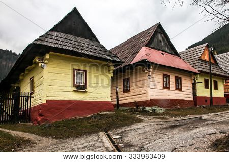 VLKOLINEC, SLOVAK REPUBLIC - DECEMBER 29, 2015: Beautiful architecture and  wooden fence from UNESCo village.