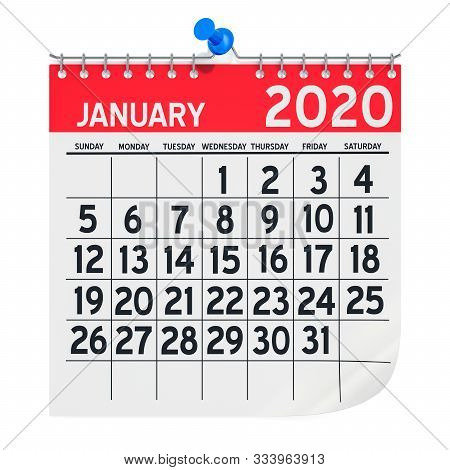 January 2020 Monthly Wall Calendar, 3d Rendering Isolated On White Background