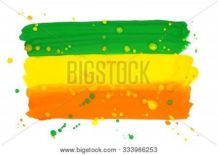 Rastafarian And Ethiopian Flag With Splatters Drawn By Watercolor Paint, Vector Background In Orange