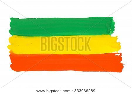 Rastafarian And Ethiopian Flag Drawn By Paint On White, Vector Background With Tricolor - Red, Yello