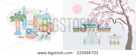Illustration Of Seoul City And Traditional Village In South Korea