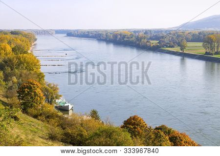Danube River In Devin District Of Bratislava On The Border Between Slovakia And Austria