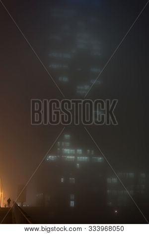 Highrise In Dense Fog In Berlin In High Format