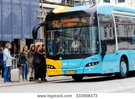 Copenhagen, Denmark - September 4, 2019: A Copenhagen Public Transportation Bus In Service On Line 5