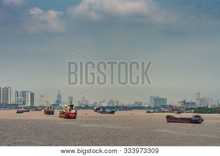 Long Tau River, Vietnam - March 12, 2019: Heavy Ship Traffic On Long Tau River In Front Of Ho Chi Mi