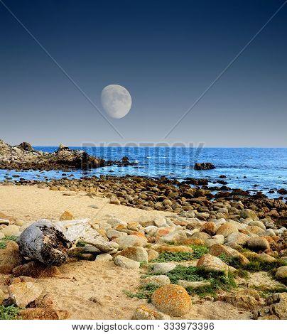 Moon Setting Asilomar State Marine Reserve Monterey Bay California