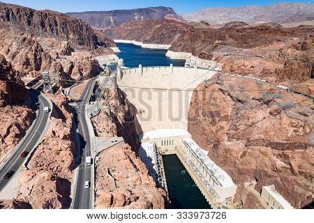 Nevada, Usa - May 21, 2012. Aerial View Of Hoover Dam And Infrastructure In Nevada, Usa. The Dam Is