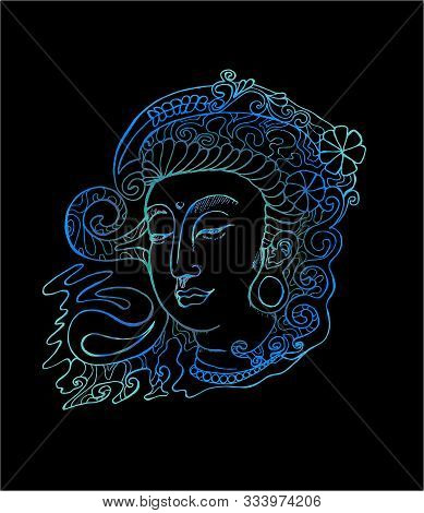 Color Illustration Of Guan Yin. Stylized Deity Guan Yin.