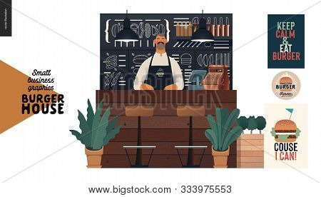 Burger House - Small Business Graphics - Seller At The Counter -modern Flat Vector Concept Illustrat