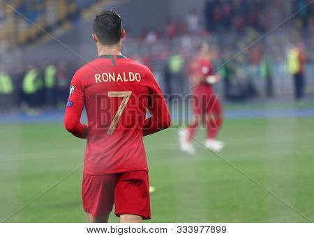 Kyiv, Ukraine - October 14, 2019: Cristiano Ronaldo Of Portugal Walks On The Pitch During The Uefa E