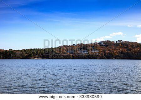 Scargo Lake Overlooks The Hilltop In Dennis Massachusetts On Cape Cod.