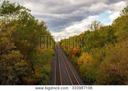 Adirondack Train Tracks In August. Adirondack Train Tracks In. Nature, Summer, Mountains