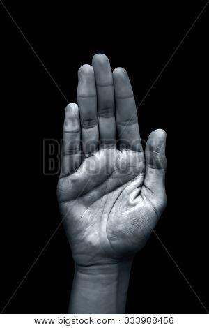 Fearless Mudra Hand Gesture Or Abhayaprada Mudra Yoga Mudra Hand Gesture Isolated On Black Backgroun