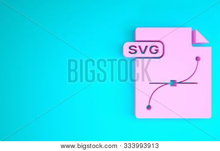 Pink Svg File Document. Download Svg Button Icon Isolated On Blue Background. Svg File Symbol. Minim
