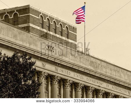 Detail Of The Facade At The United States Department Of Agriculture, Side On The 14th St Sw, Washing