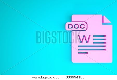 Pink Doc File Document. Download Doc Button Icon Isolated On Blue Background. Doc File Extension Sym