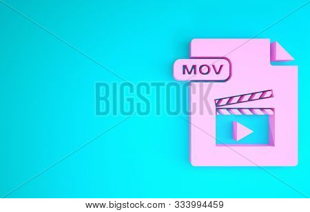 Pink Mov File Document. Download Mov Button Icon Isolated On Blue Background. Mov File Symbol. Audio