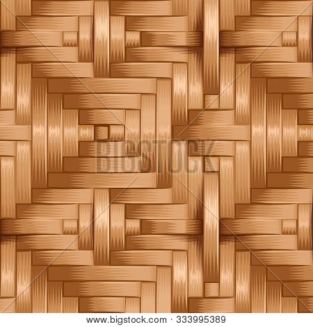 Bamboo Wood Weaving Pattern, Natural Wicker Texture Surface Theme Concept, Vector Illustration