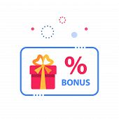 Prize giveaway, loyalty card, present box, percentage sign and gift certificate, incentive or perks, bonus program, discount coupon, vector flat design illustration poster