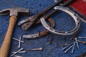horse shoeing tools hammer pullers tacks file poster