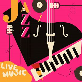 Jazz Music Festival Poster With Piano And Microphone Flat Vector Illustration Design. Colorful Music