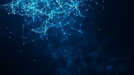 Abstract Connected Dots And Lines On Blue Background. Communication And Technology Network Concept W