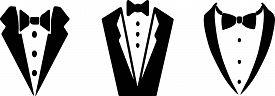 Tuxedo Icon On White Background Vector, Wedding, White