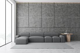 Concrete Living Room Interior With Sofa
