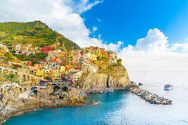 Manarola Village, Cinque Terre Coast Of Italy. Manarola A Beautiful Small Town In The Province Of La
