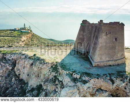 Mesa Roldan Tower And Lighthouse, Cabo De Gata Nijar Natural Park In Almeria Province, Andalusia Spa