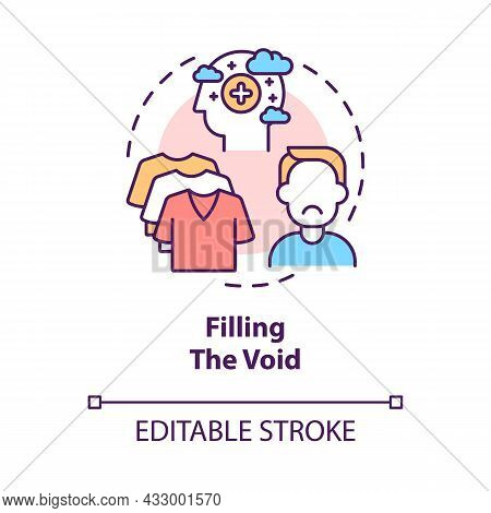 Filling Void Concept Icon. Shopping When Feel Sad And Stress. Sense Of Emptiness. Worthless Buying A