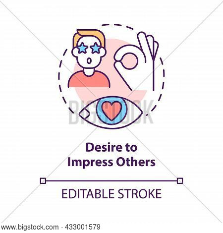 Desire To Impress Others Concept Icon. Buy Things To Impress Friends And Colleagues. Excessive Consu