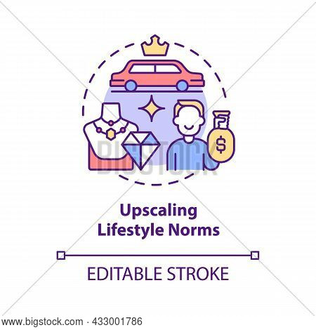 Upscaling Lifestyle Norms Concept Icon. Envy Makes Us Overspend Money. Competitive Consumerism Abstr