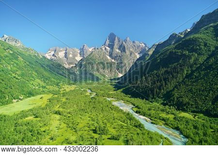Aerial beautiful summer landscape of Caucasus mountain. near Dombay. Nature composition.